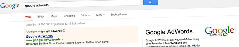 Screenshot - Suche nach AdWords Marketing im M2M-Umfeld